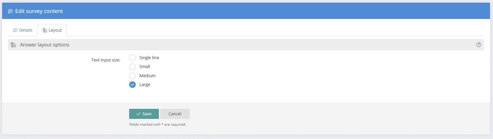 Free Text Question Layout